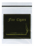 "BagCo offers stock bags printed in gold and black with a black zipper marked ""Fine Cigars"", perfect for holding fine cigars and tobacco products."